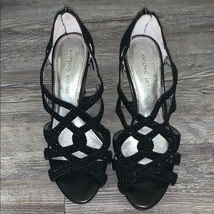 Antonio Melani Black Rhinestone Heels